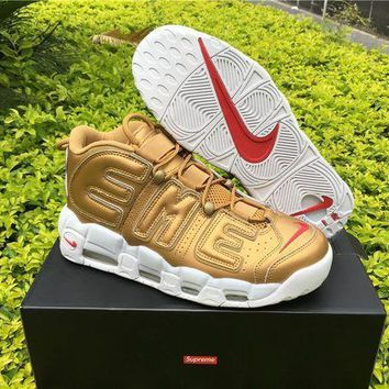 PEAPGE2 Beauty Ticks Supreme X Nike Air More Uptempo Big R Scottie Pippen Gold Basketball Shoes