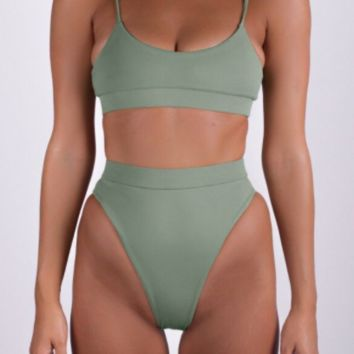 Pure color high waist two piece bikinis swimwear bathsuit