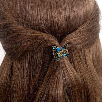 DKLW8 2017 Hot Sale Alloy hairpins Crab claw clip Retro Mini Butterfly Headband hairpin Women's Hair Accessories