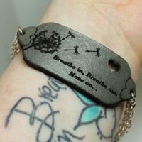 Mantra bracelet Breathe in breathe out Move on Quote bracelet grey