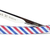 Black Widow Professional Barber Straight Edge Razor - Barber Pole