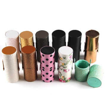 Women Makeup Brush Round Pen Holder Cosmetic Tool PU Leather Cup Container Solid Colors 11 Optional Case
