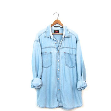 Vintage 90s Washed Out Faded Blue Bleached Denim Shirt Button Up Distressed Slouchy Boyfriend Jean Shirt Chambray Minimal Boho Mens Large