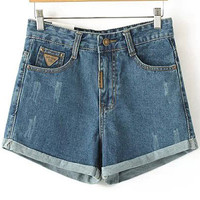 Blue Bleached Denim Shorts