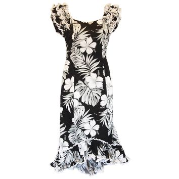 Waikiki Black Hawaiian Meaaloha Muumuu Dress with Sleeves