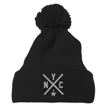 Hamilton Nyc Embroidered Knit Pom Cap