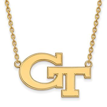 NCAA 14k Gold Plated Silver Georgia Tech Large 'GT' Pendant Necklace