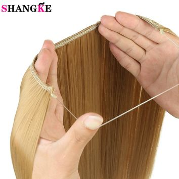 SHANGKE 24 inches Invisible Wire No Clips in Hair Extensions Secret Fish Line Hairpieces Silky Wavy Synthetic Heat Resistant