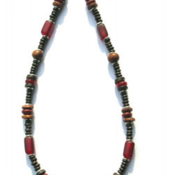 Fair Trade Recycled Glass and Coconut Seed Necklace