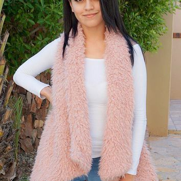 Ready In No Time Rose Pink Faux Fur Sleeveless Vest