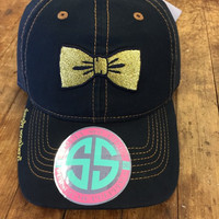 *Simply Southern Hat Black Gold Bow