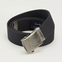 Black Cotton Web Military Belt