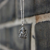 Ganesh necklace - sterling silver ganesh pendant . ganesha . yoga jewelry . Hindu gods & goddesses . simple, minimal charm jewelry
