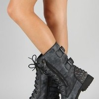 Harley 12 Womens Military Lace up Studded Combat Boot Black 10