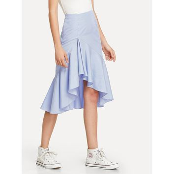 Blue Ruffle Dip Hem Gingham Skirt