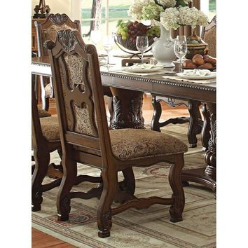Traditional Style Wooden-Fabric Side Chair With Floral And Shell Motifs, Cherry Brown