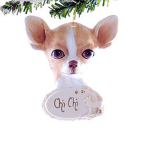 Chihuahua Ornament Personalized - Golden Chihuahua personalized Christmas ornament - handmade in the USA