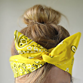 Yellow Paisley Dolly bow Headband, hair bow head band