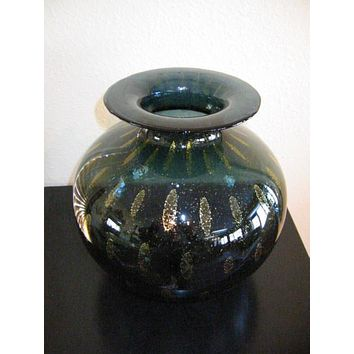 Murano Italy Green Glass Vase Archimedes Gold Paisley
