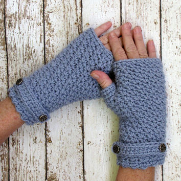 Fingerless Gloves, Light Blue Crocheted Gloves, Ladies Gloves, Teen Gloves