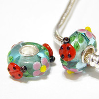 Murano Bead - Ladybug - Lampwork Glass - Blue and Red -  Large Hole - Fits European - A110