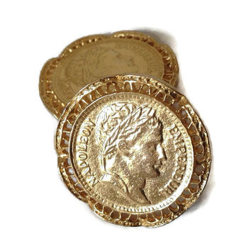 VIntage Gold Coin Earrings Large Clip On Napoleon Roman Bust Bright Goldtone