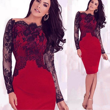 Women Dress Celebrity New Sexy Lace Cocktail Evening Party Business Bodycon Pencil Dress Purple/Blue/Red [9305691079]