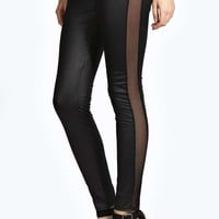 Fern Mesh Side Panel PU Leggings
