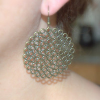 oversized circle earrings, brass dangle hoop earrings, large hoops, big everyday earrings, round filigree earrings, filigree hoops
