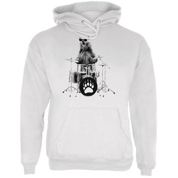 ONETOW Bear Drummer White Adult Hoodie
