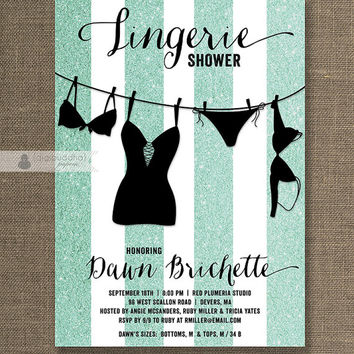 Tiffany Blue Glitter Lingerie Shower Invitation Glitter Stripe & Black Wedding Hens Party Bridal Shower Printable Digital or Printed - Dawn