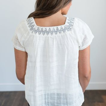 Kate Chevron Embroidered Blouse