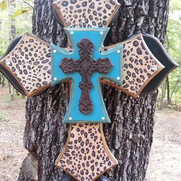 Leopard, Black, and Turqoise Layered Handmade Cross
