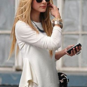 White Long-Sleeve Ruffled Shirt