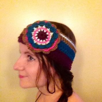 Crochet Hippie Headband Crochet Ear Warmer Crochet Flower Headband Hippie Flower Headband Boho Headband
