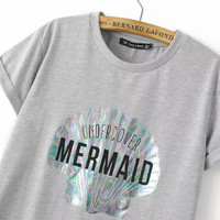 """"""" Mermaid Undercover """" Women's Junior's T Shirt Gray Top Holographic Sea Shell Print Short Sleeve Trendy Hipster Clothing & Tees"""