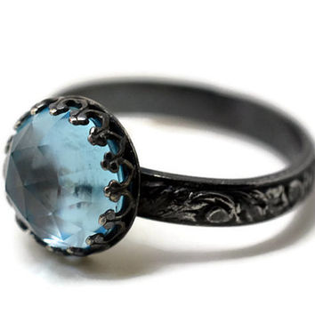 Black Silver Ring, Sky Blue Gemstone Ring, Engagement Ring, Floral Silver Ring, 10mm Topaz Ring