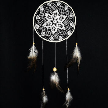 Dream catcher crochet doily wall decoration cream, brown, white, crochet dreamcatcher, medium