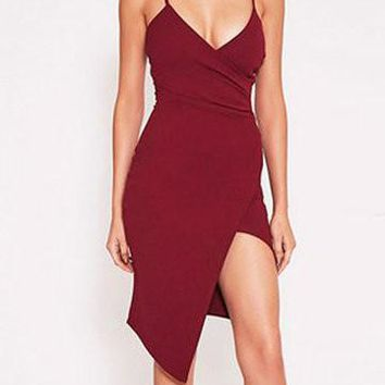 Burgundy Wrap Plunge Neckline Irregular Hem Dress
