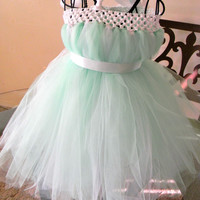 Minty Tutu Dress-Baby Tutu Dress-Toddler Mint Tutu Dress-Tulle Tutu Dress White Tutu Dress-Tutu-Flower Girl Dress-Photo Prop
