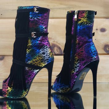 Rainbow Geo Matrix Multi Color Black Fringe Peep Toe Ankle Boot US Size 6.5