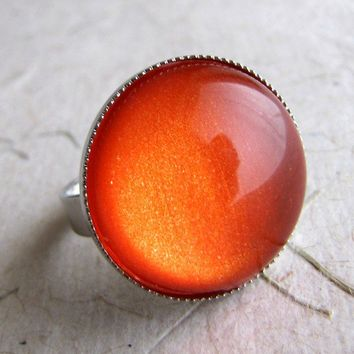 Orange Dream Shimmer Ring in Silver