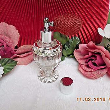 Antique Style Diva Glass Bottle W/Red Perfume Atomizer Silver Fittings