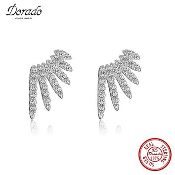 Dorado Luxury 100% 925 Sterling Silver with Cubic Zirconia Jewelry Free Fly Angel Wings Charm Stud Earrings for Gift