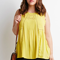 Lace and Crochet-Paneled Top