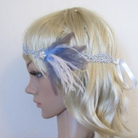 60% OFF CLEARANCE SALE Gorgeous 1920s Light blue, blush pink & light grey feather and lace flapper tip up headband Free Shipping
