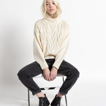 Vintage 80s Ivory Chunky Cable Knit Turtleneck Sweater | M