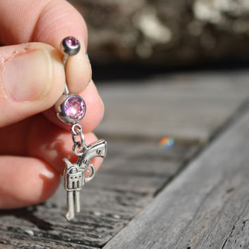 Gun belly ring, Pistol belly button ring, pink belly ring, pink belly button ring, crystal belly ring, country jewelry, country girl