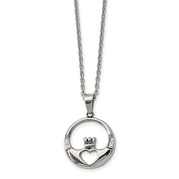 Stainless Steel and Cubic Zirconia Claddagh Pendant Necklace - 20 Inch