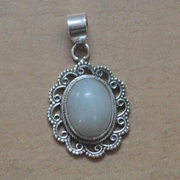 Beautiful Natural Moonstone Pendant in 100% 925 Sterling Silver Moonstone Pendant,Sterling Silver Pendant,Oval Moonstone Pendant/Necklace
